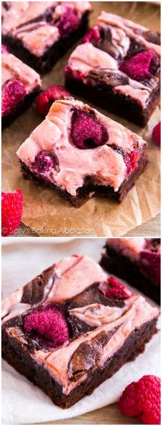 Ultra fudgy homemade brownies swirled with creamy raspberry cheesecake and dotted with fresh raspberries. Ingredients: Fudge Brownies cup unsalted butter 8 ounces coarsely chopped semi-s… Fudge Brownies, Homemade Brownies, Cheesecake Brownies, Homemade Desserts, Cheese Brownies, Brownie Recipes, Cake Recipes, Dessert Recipes, Just Desserts