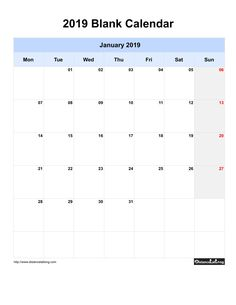 Free Monthly Printable Blank Calendar for January 2019 Monday to Sunday