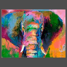This ready to hang, gallery-wrapped art piece features an elephant. American impressionist Richard Wallich has spent more than 30 years honing his painting talents. He studied painting and figure draw Elephant Canvas Art, Canvas Wall Art, Map Canvas, Image Elephant, Rainbow Painting, Arte Pop, Animal Paintings, Canvas Paintings, Bright Paintings
