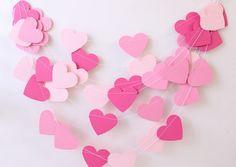 Wedding Garland, Valentine Garland, Pink Paper Garland 10 ft, Bridal Shower, Baby Girl Shower, Romantic Wedding, Birthday Party, Pink Party