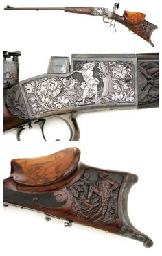 An ornately engraved Ayd system German schuetzen target rifle with carved stock, late 19th century.