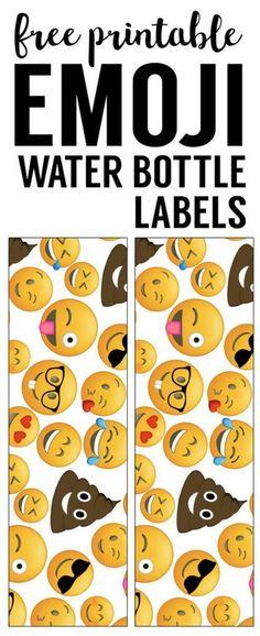 Emoji Water Bottle Labels Free Printable. Wrapper for beverages at an Emoji birthday party, baby shower, or bridal shower. Easy DIY emoji party decor.