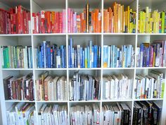 Arrange Books by Color - Decorating Tips for Shelves and Bookcases on HGTV