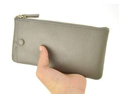 Genuine Cow Leather Clutch Wallet Men Women Cellphone Purse Zip Coin Bag Credit Card Holder Bill Money Checkbook Mobile Case