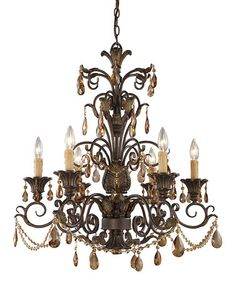 Loving this Weathered Mahogany & Amber Crystal Rochelle Six-Light Chandelier on #zulily! #zulilyfinds