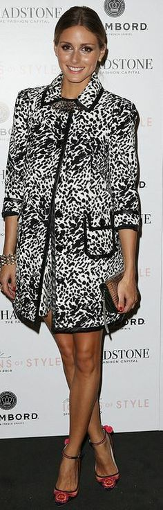Who made  Olivia Palermo's white animal print coat and black ankle strap pumps?