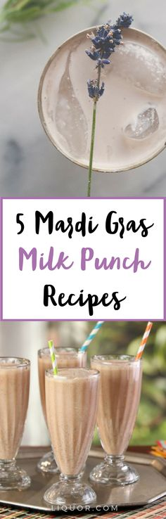 These 5 #boozy milk punches are perfect to #celebrate #Mardi #Gras this year!