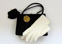 Vintage Handbag  After Five Black Satin Handbag