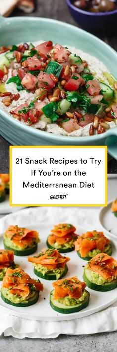 21 Mediterranean Diet Snack Recipes for Better Midday Munchies is part of Mediterranean diet snacks - Not your average hummus and pita Mediterranean Diet Meal Plan, Mediterranean Recipes, Mediterranean Breakfast, Mediterranean Appetizers, Healthy Snacks, Healthy Eating, Healthy Recipes, Healthy Protein, Stay Healthy