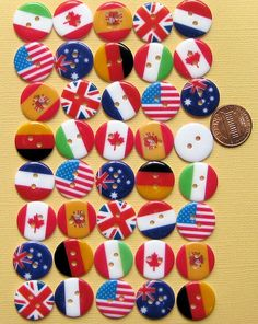 40 World Flag Buttons 8 Different Countries by BohemianFindings  *Bring these Buttons a Global Perspectives event or party here at Dolphin Cove. These would be great welcoming Gifts to a new home*