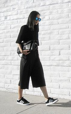 A Short-Sleeved Shirt, Cropped Pants, and Sneakers