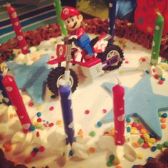 A Lego Mario toy topped this homemade fondant marble birthday cake for my son's 8th bday party