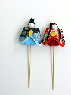 和紙製手作りひな人形ピック 2本セット 4