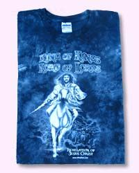 """KING OF KINGS - Tie Dye Christian T-shirt-Blue Scripture on Back: """"I saw heaven standing open and there before me was a white horse, whose rider is called Faithful and True.""""Revelation 19.11 Color: BLUE"""