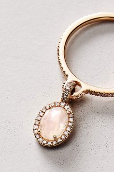 Moonstone and Diamond Pendant Ring in 14k Rose Gold - anthropologie.com