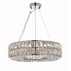 Crystal Spiridon Ring Chandelier Chandeliers Modern / Contemporary Lighting Pendant 20 Wide - Good for Dining Room, Foyer, Entryway, Family Room and More.