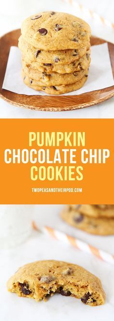 Pumpkin Chocolate Chip Cookies-everyone's favorite fall cookie! These spiced pumpkin cookies are soft, chewy, and dotted with chocolate chips! They are the BEST pumpkin cookies!