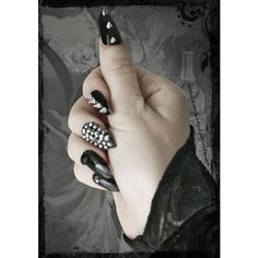 Items similar to Deviant.Press On Stiletto Spiked Fake Nails, Gothic... ❤ liked on Polyvore featuring beauty products, nail care, nail treatments and nails