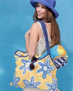 Learn how to crochet a Starfish Beach Bag with cotton yarn. The beach bag consists of 10 hexagon. Crochet Starfish, Crochet Beach Bags, Love Crochet, Crochet Yarn, Crochet Handbags, Crochet Purses, Knitting Patterns, Crochet Patterns, Bag Patterns