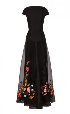 long toledo dress - temperley London black dress gown floral embroidery