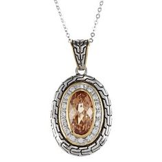 Sterling Silver TwoTone Champagne CZ Oval Pendant with 18 Chain * Want additional info? Click on the image.