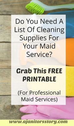 Basic list of cleaning supplies useful for residential cleaning services. House cleaning service providers can Residential Cleaning Services, House Cleaning Services, Storing Cleaning Supplies, Cleaning Supply List, Commercial Cleaning Supplies, Professional House Cleaning, Cleaning Business, Deep Cleaning Checklist, Cleaning Routines