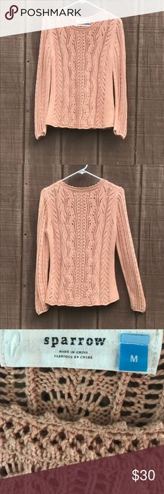 """Anthropologie - Sparrow Sweater Size M Cable knit Sparrow sweater size medium. Measures 15"""" shoulder to shoulder, 17.5"""" armpit to armpit, and 15.25"""" across the waist. Anthropologie Sweaters"""