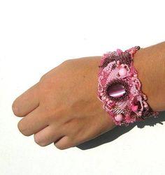 Pink bracelet cuff Beadwork bracelet Seed bead jewelry by ibics