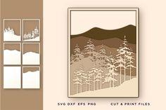 Wall art 3D, Pine Tree, File for Cricut, Layered Mountain #lasercutmandala #3dmultilayermandalasvg #3dgeometric #svgbylayers #cricutdiy #papercut #christmassnowflakesvg #wallart3d #pinetreesvg #fileforcricut Geometric Transformations, Paper Cutting Templates, Paper Cut Design, Free Svg Cut Files, Christmas Snowflakes, Pattern And Decoration, Free Design, 3d Design, Cricut Design