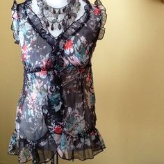 ☀️Sheer sleeveless blouse. Sheer, airy, blouse in navy blue with floral design. Back tie, button front. Cute paired with jeans, capris, bermuda shorts! Tops Blouses