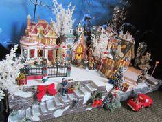 "Christmas Stucco Stairs Snow Village Display Platform Base 28x12"" Dept 56 Lemax | eBay"