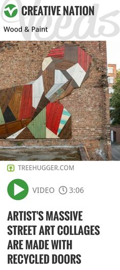 Leaving the original paint and imperfections, this artist cuts up discarded doors to create huge works of abstract street art. | #mural #green | http://veeds.com/i/qLuZf-5wsz94daTR/creativenation/