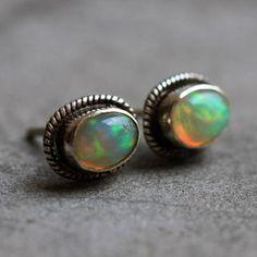 Ethiopian opal earrings - Stud earrings - Opal studs - Bezel earrings  $185.00