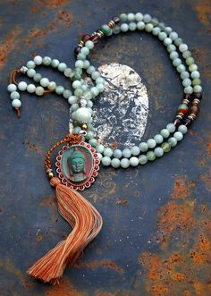 Mala made of 108, 8 mm - 0,315 inch, beautiful jade gemstones and decorated with cherry quartz, faceted agate and a nepalese buddha pendant - Made by look4treasures