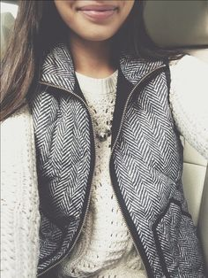 J. Crew Herringbone Vest styled with the J. Crew Venus Flytrap Necklace!