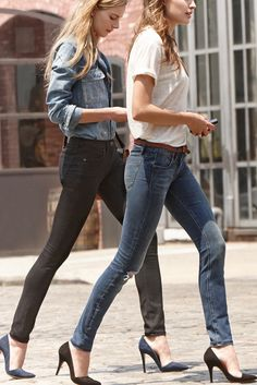 chambray + gray skinnies + navy pumps or white blouse + denim skinnies + black/charcoal pumps