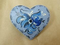 Noorse Blue Rosemaled hart Pin of magneet