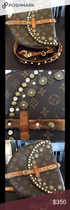 UpStyled Louis Vuitton Chantilly MM One of a kind authentic vintage Louis Vuitton chantilly MM. Adorned with Swarovski crystals and studs detailed with bronze metallic lambskin.  Thanks a is a vintage bag that I Up Style.  Bag is an authentic Louis Vuitton and buyer should expect characteristics of a vintage bag.  This is the largest Chantilly. Louis Vuitton Bags Crossbody Bags