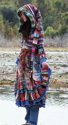 Relisted -SuperDuperUbberAwesome patchwork ragamuffin elf pixie rave recycled sweater coat Relisted SuperDuperUbberAwesome by christieshippycloset on Etsy Gypsy Style, Boho Gypsy, Hippie Style, Bohemian Style, Boho Chic, My Style, Hippie Chic, Fashion Mode, Look Fashion