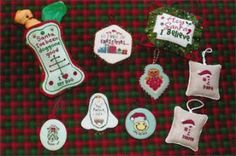 """""""Christmas Trimmings"""" is the title of this cross stitch pattern from Poppy's Kreation featuring a variety of Christmas ornaments."""