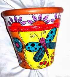 Bildergebnis für macetas pintadas a mano y decoradas Ceramic Pots, Terracotta Pots, Ceramic Clay, Clay Pots, Painted Plant Pots, Painted Flower Pots, Flower Pot Crafts, Clay Pot Crafts, Pottery Painting