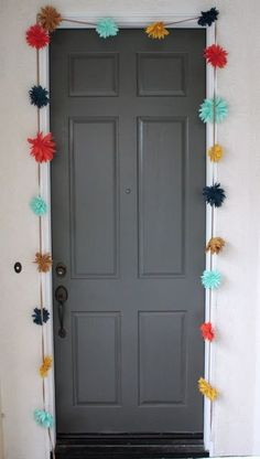 Hang a colorful garland around your door.