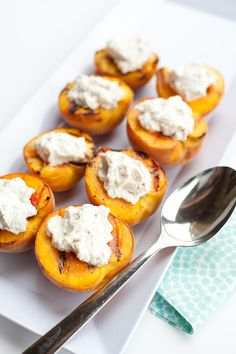 Grilled Peaches with Cinnamon Whipped Cream Recipe