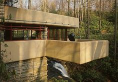 Falling Water House Built Near Waterfalls By Frank Lloyd Wright Jr Falling Water House, Falling Waters, Falling Water Frank Lloyd Wright, Waterfall House, Frank Lloyd Wright Buildings, Timber House, Space Architecture, Architecture Images, House Design