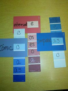 Paint chip adjectives- students can slide the end strip to work with #/gend agreement. Also can branch out with new adjectives or use as flashcards. Doing with verbs next. Choose what type of infinitive+ correct conjugations.Walmart has best paint chips b/c some have the hole @ top to hook them all together.