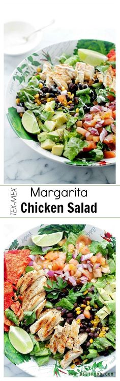 Margarita Chicken Salad - Tender chicken marinated in flavors of margarita and lime, served atop a beautiful and colorful tex-mex salad, with a creamy avocado dressing.