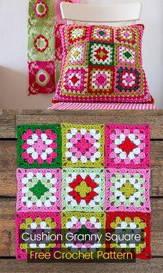 Cushion Granny Square Free Crochet Pattern #crochet #crafts #homedecor #style #idea