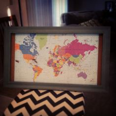 Pin Board World map. DIY Wedding gift. Pin the places they've traveled together & date.