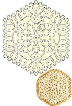 Crochet Coaster Pattern, Crochet Mandala Pattern, Crochet Triangle, Crochet Circles, Granny Square Crochet Pattern, Crochet Flower Patterns, Crochet Diagram, Freeform Crochet, Crochet Chart