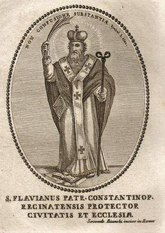 St. Flavian  Bishop of Constantinople, date of birth unknown; died at Hypaepa in Lydia, August, 449. Nothing is known of him before his elev...